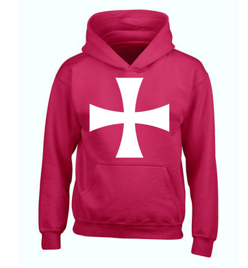 Knights Templar cross children's pink hoodie 12-14 Years
