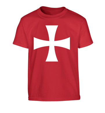 Knights Templar cross Children's red Tshirt 12-14 Years