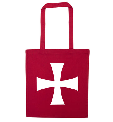 Knights Templar cross red tote bag