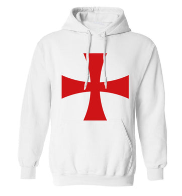 Knights Templar cross adults unisex white hoodie 2XL