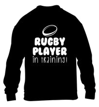 Rugby player in training children's black sweater 12-14 Years