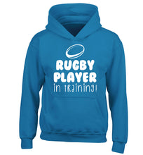 Rugby player in training children's blue hoodie 12-14 Years