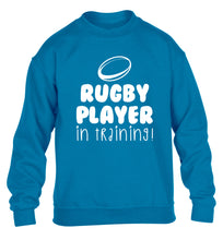 Rugby player in training children's blue sweater 12-14 Years