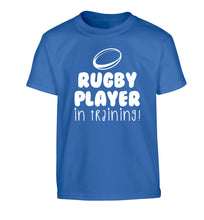Rugby player in training Children's blue Tshirt 12-14 Years