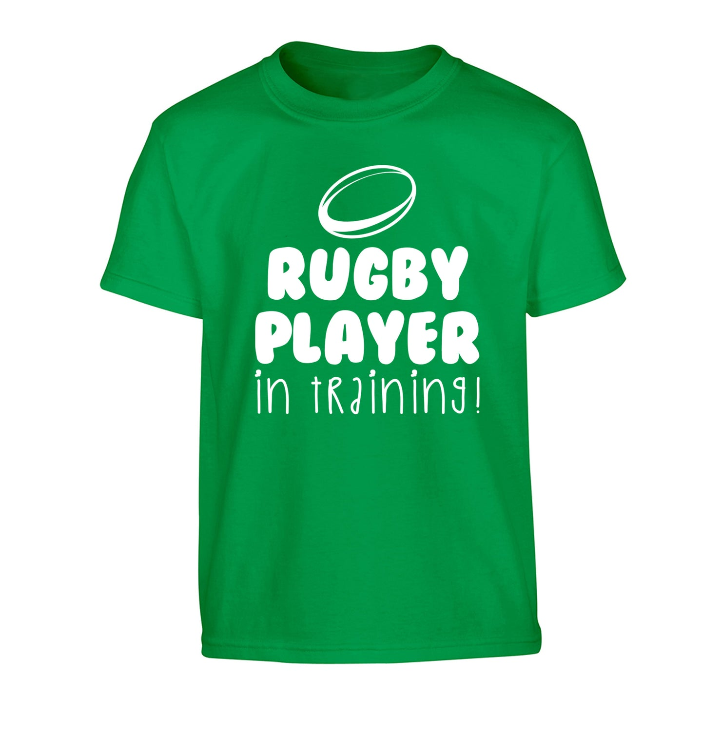 Rugby player in training Children's green Tshirt 12-14 Years