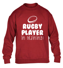 Rugby player in training children's grey sweater 12-14 Years