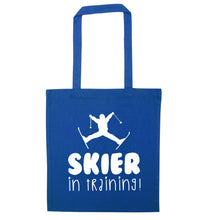 Skier in training blue tote bag