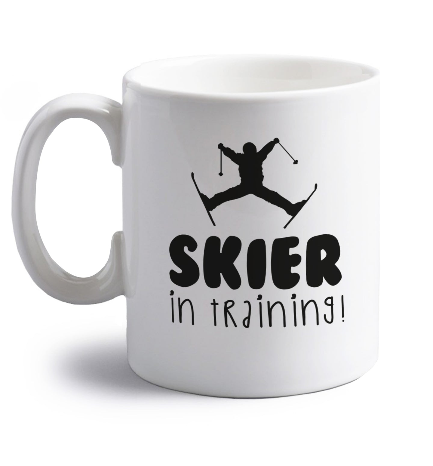 Skier in training right handed white ceramic mug