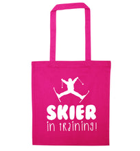 Skier in training pink tote bag