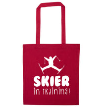 Skier in training red tote bag