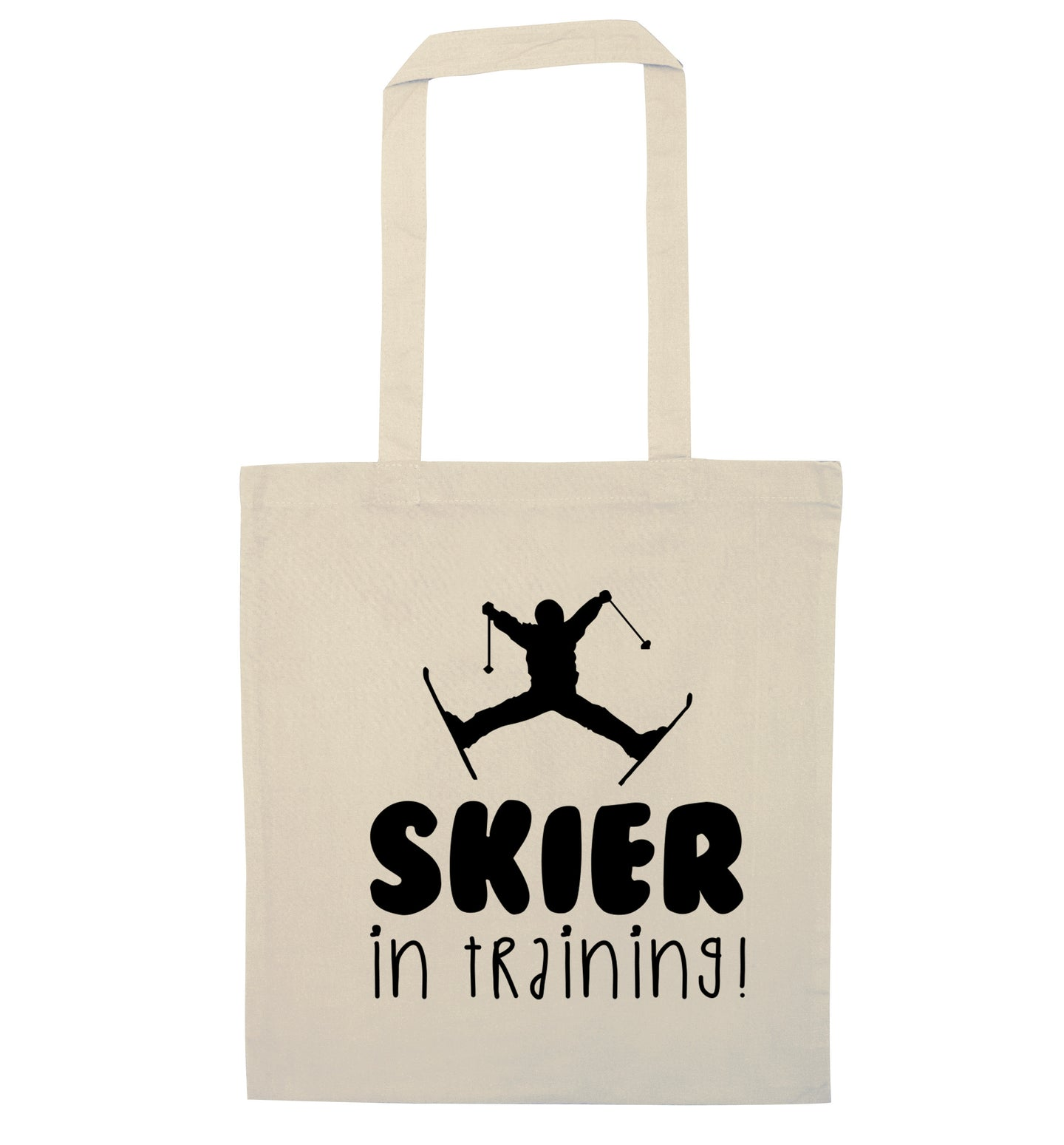 Skier in training natural tote bag