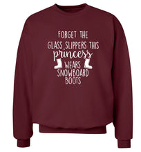 Forget the glass slippers this princess wears snowboard boots Adult's unisex maroon Sweater 2XL