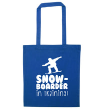 Snowboarder in training blue tote bag
