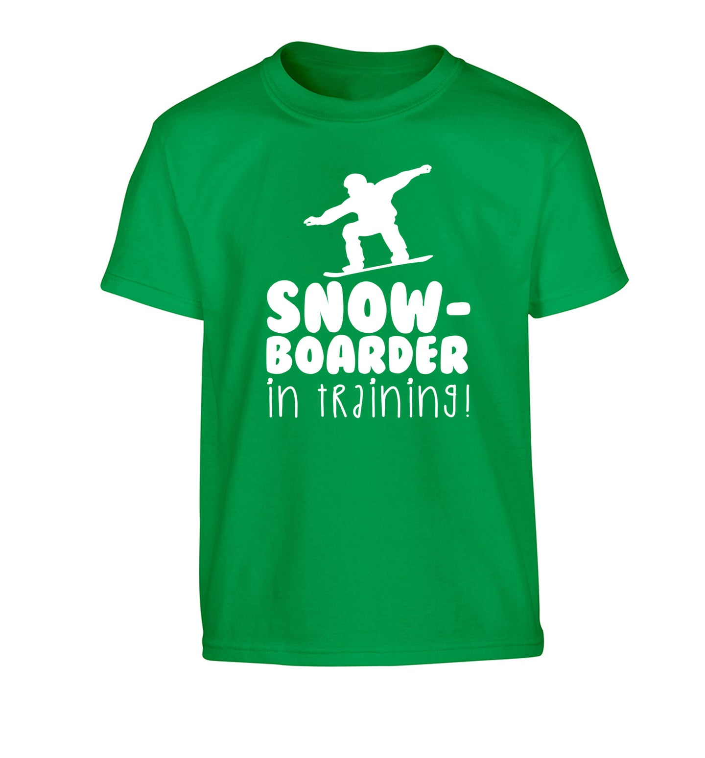Snowboarder in training Children's green Tshirt 12-14 Years