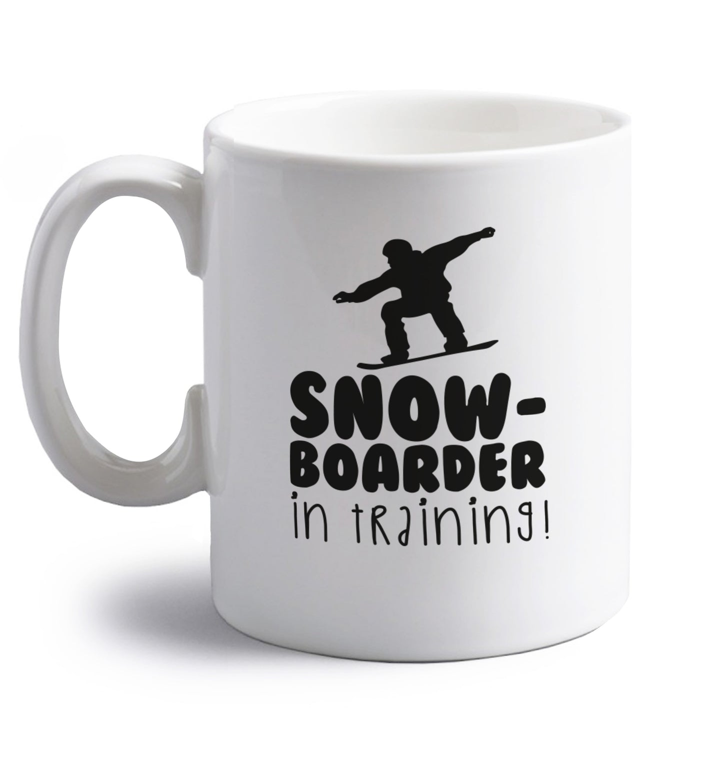 Snowboarder in training right handed white ceramic mug