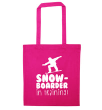 Snowboarder in training pink tote bag