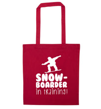Snowboarder in training red tote bag