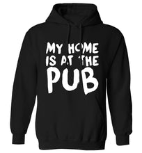 My home is at the pub adults unisex black hoodie 2XL