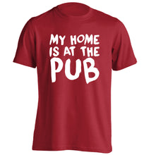 My home is at the pub adults unisex red Tshirt 2XL