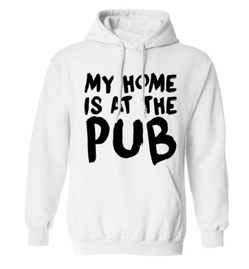 My home is at the pub adults unisex white hoodie 2XL