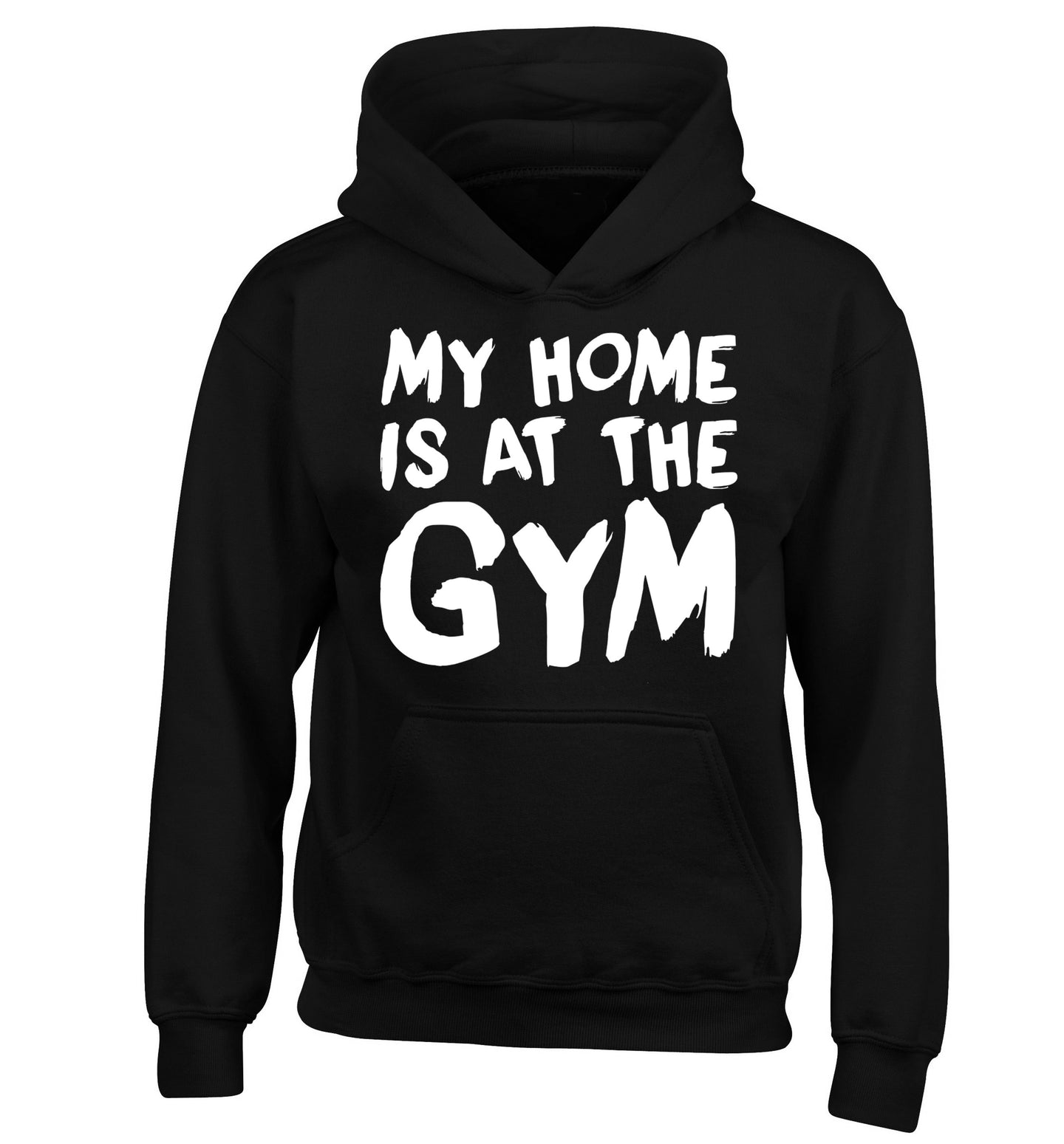 My home is at the gym children's black hoodie 12-14 Years