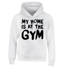 My home is at the gym children's white hoodie 12-14 Years