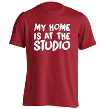 My home is at the studio adults unisex red Tshirt 2XL