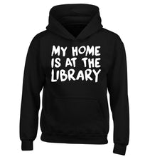 My home is at the library children's black hoodie 12-14 Years