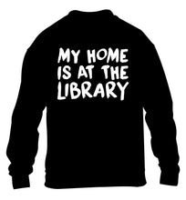 My home is at the library children's black sweater 12-14 Years