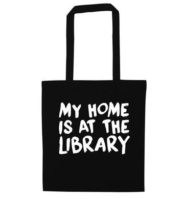My home is at the library black tote bag