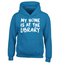 My home is at the library children's blue hoodie 12-14 Years