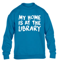 My home is at the library children's blue sweater 12-14 Years