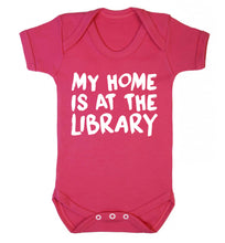 My home is at the library Baby Vest dark pink 18-24 months