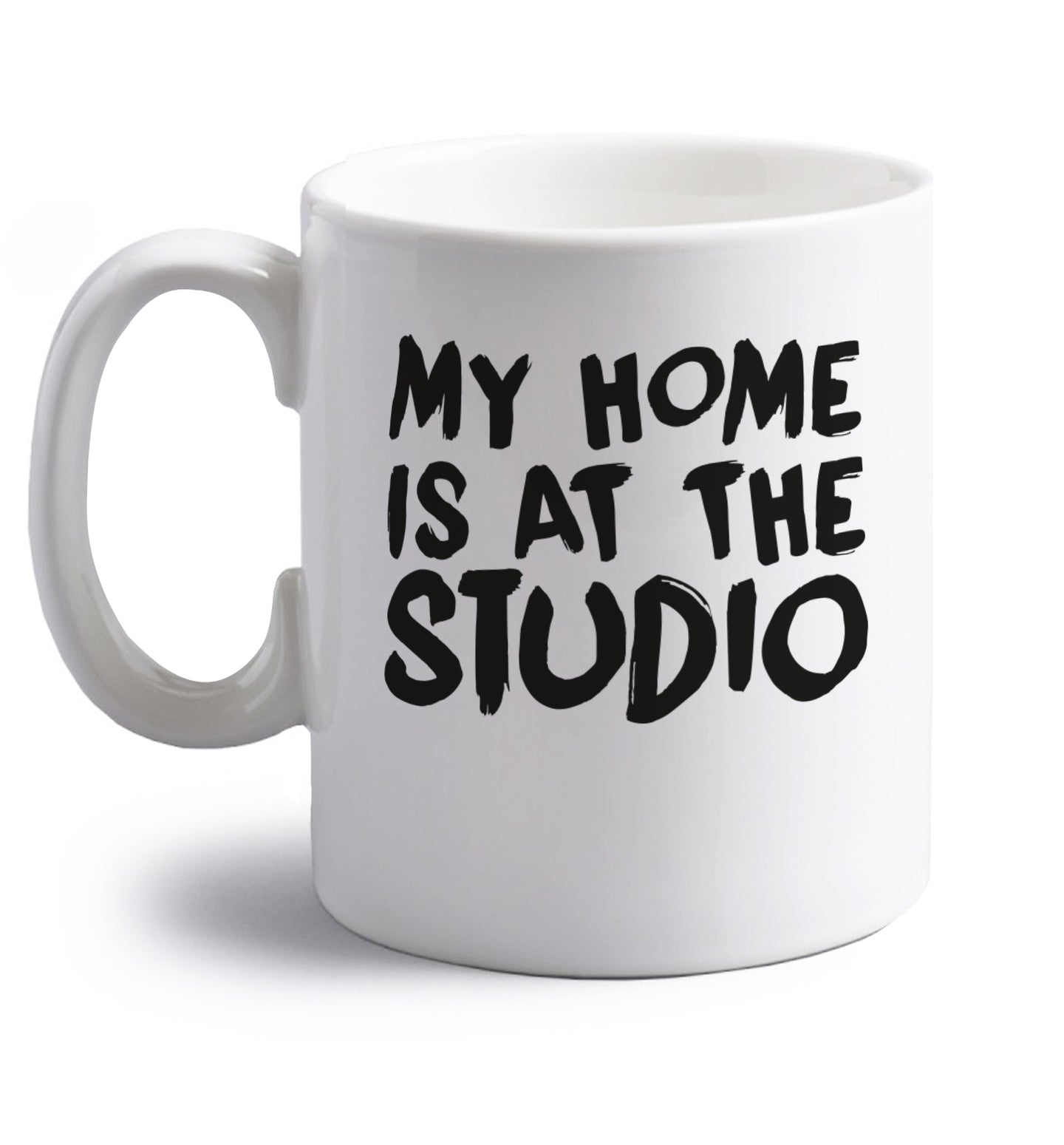 My home is at the library right handed white ceramic mug