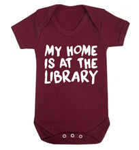 My home is at the library Baby Vest maroon 18-24 months