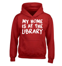 My home is at the library children's red hoodie 12-14 Years
