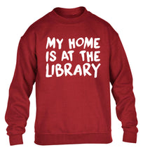 My home is at the library children's grey sweater 12-14 Years