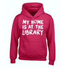 My home is at the library children's pink hoodie 12-14 Years