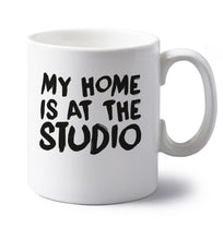 My home is at the library left handed white ceramic mug