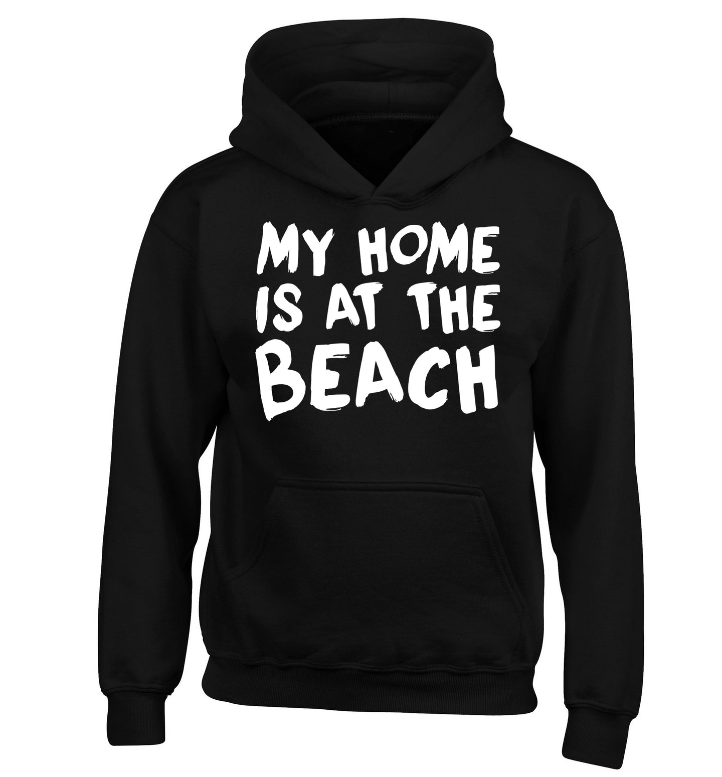 My home is at the beach children's black hoodie 12-14 Years
