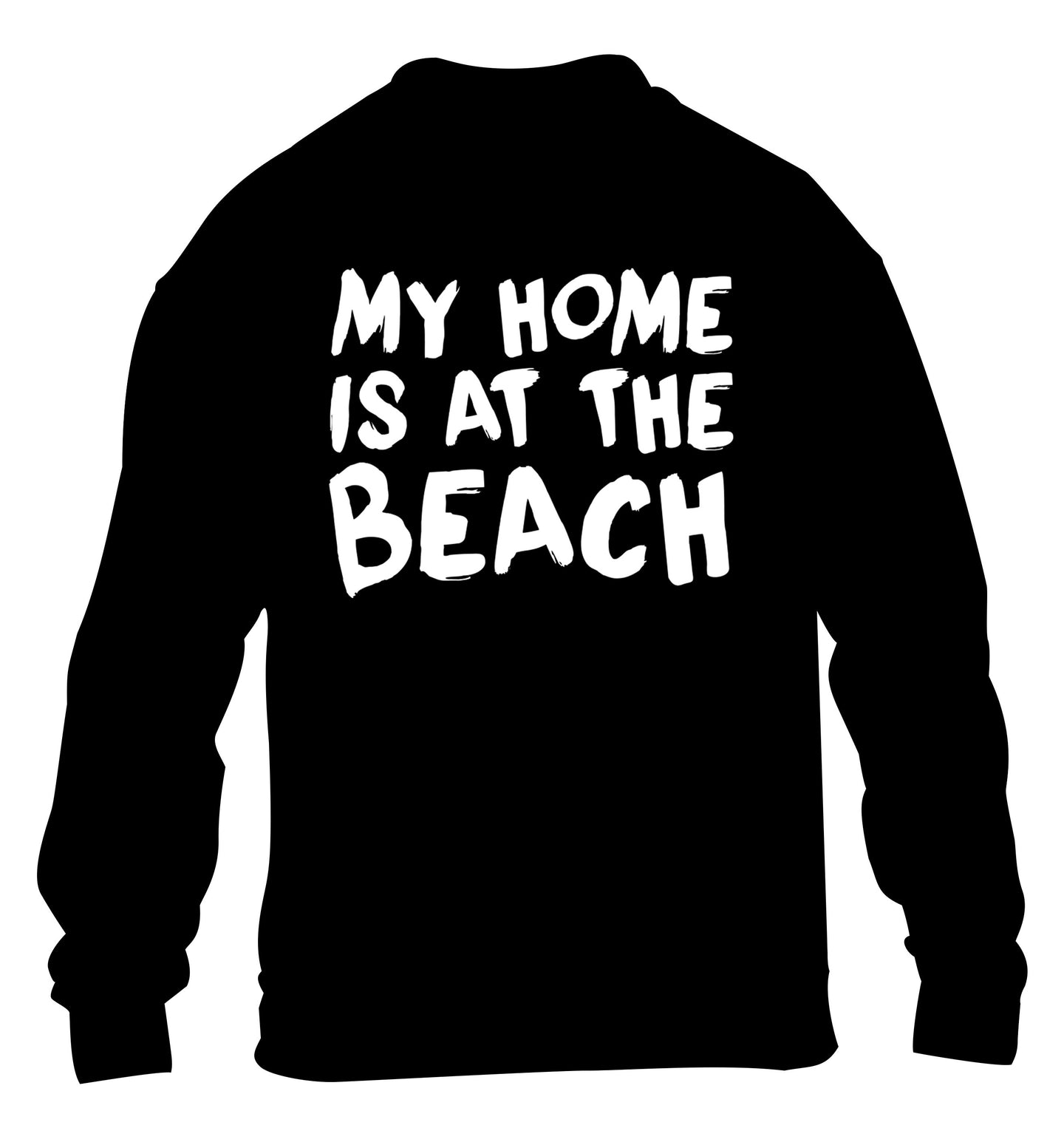 My home is at the beach children's black sweater 12-14 Years