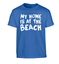 My home is at the beach Children's blue Tshirt 12-14 Years