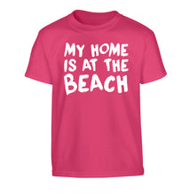 My home is at the beach Children's pink Tshirt 12-14 Years