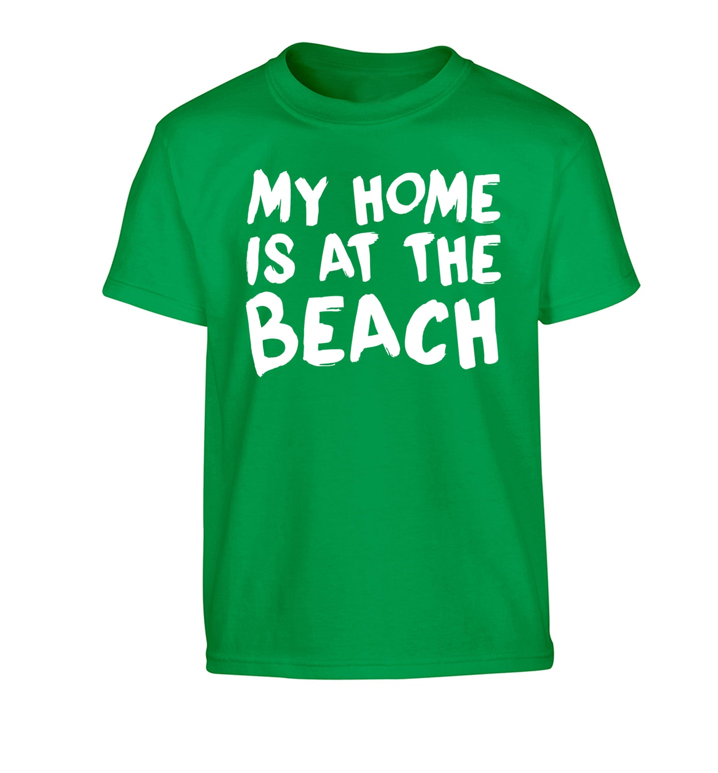 My home is at the beach Children's green Tshirt 12-14 Years
