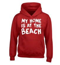 My home is at the beach children's red hoodie 12-14 Years