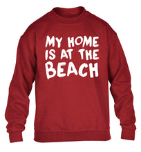 My home is at the beach children's grey sweater 12-14 Years