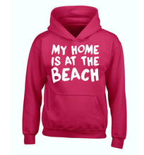 My home is at the beach children's pink hoodie 12-14 Years