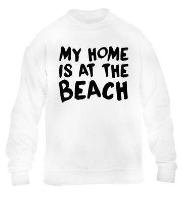My home is at the beach children's white sweater 12-14 Years