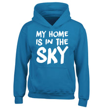 My home is in the sky children's blue hoodie 12-14 Years