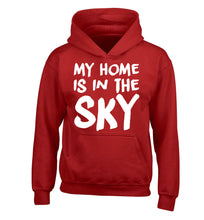 My home is in the sky children's red hoodie 12-14 Years